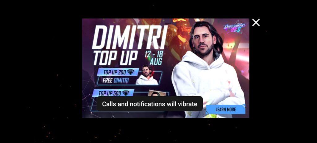 Dimitri character free topup trick